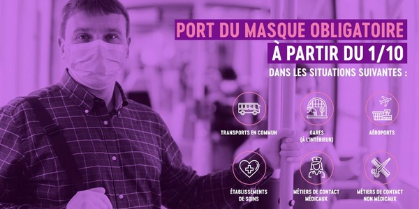 Affiche port du masque obligatoire à partir du 01/10