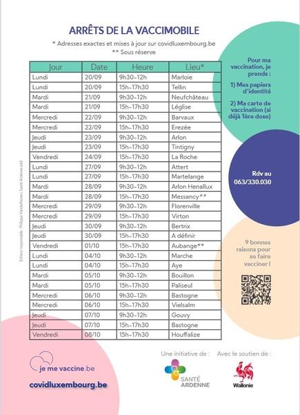 image reprenant les arrêts et horaires de la vaccimobile